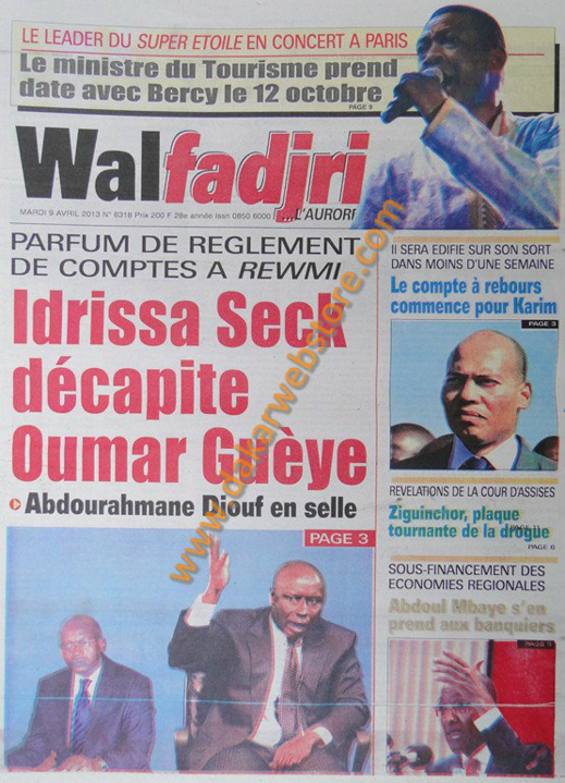A la Une du Journal Walfadjri du mardi 09 Avril 2013