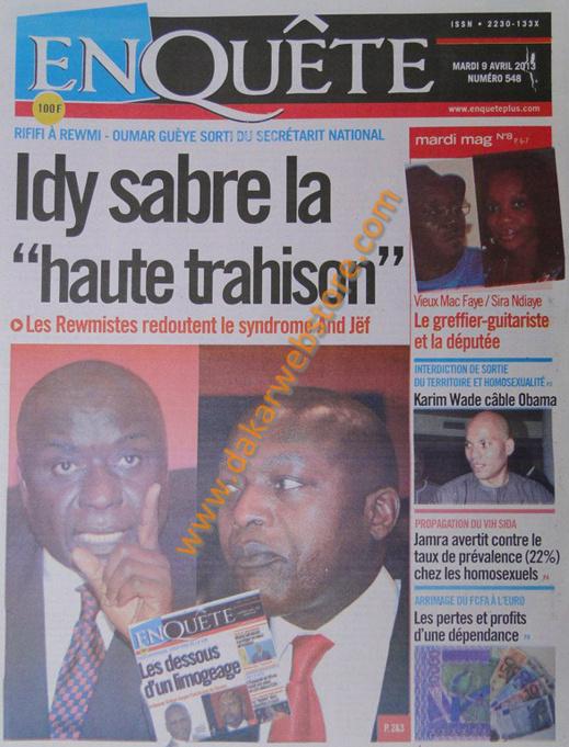 A la Une du Journal EnQuête du mardi 09 Avril 2013