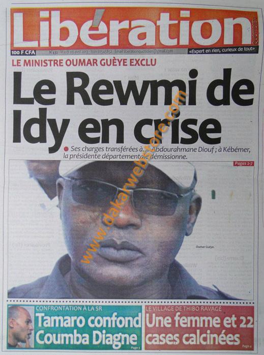 A la Une du Journal Libération du mardi 09 Avril 2013