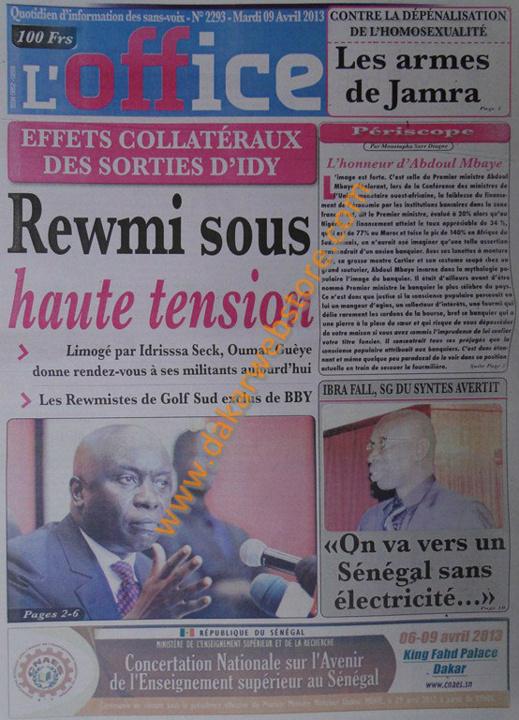 A la Une du Journal L'Office du mardi 09 Avril 2013