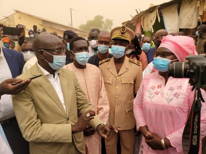 Visite du ministre du Commerce, Aminata Assome Diatta au chantier du marché central de Diourbel