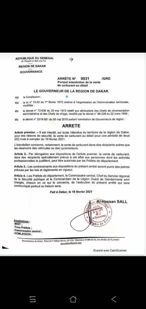Interdiction de la vente de carburant au détail à Dakar, pour des raisons de sécurité