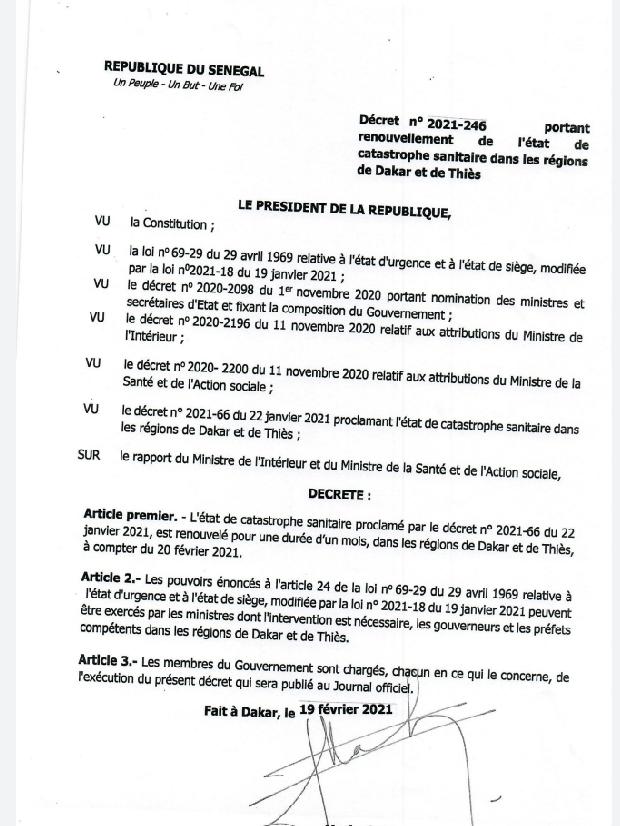 Couvre-feu et l'interdiction de rassemblement: La nouvelle mesure en vigueur jusqu'au 20 mars