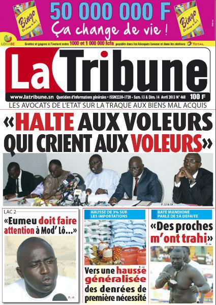 A la Une du Journal La Tribune du samedi 13 Avril 2013