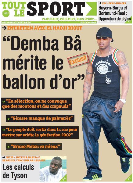 A la Une du Journal Tout Le Sport du samedi 13 Avril 2013