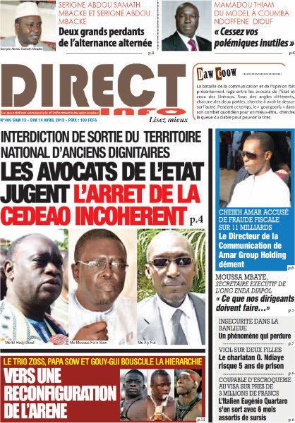 A la Une du Journal Direct Info du samedi 13 Avril 2013