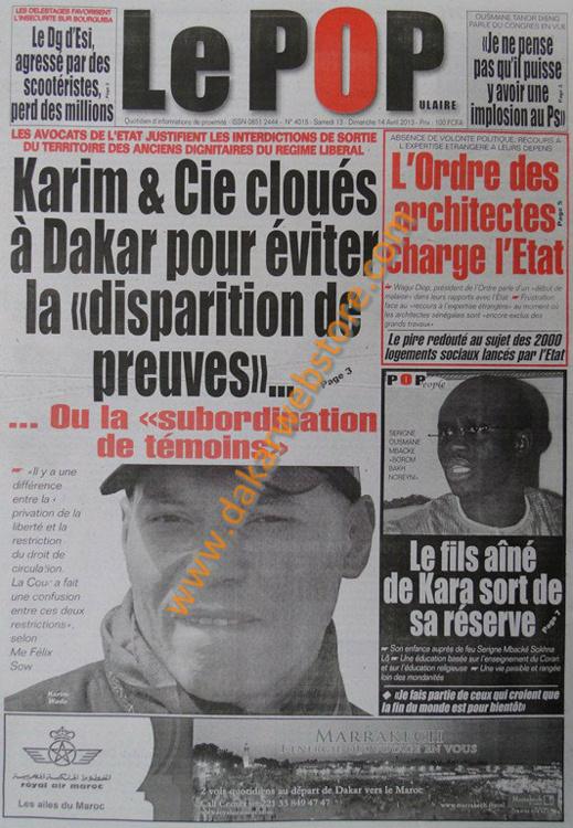 A la Une du Journal Le Populaire du samedi 13 Avril 2013