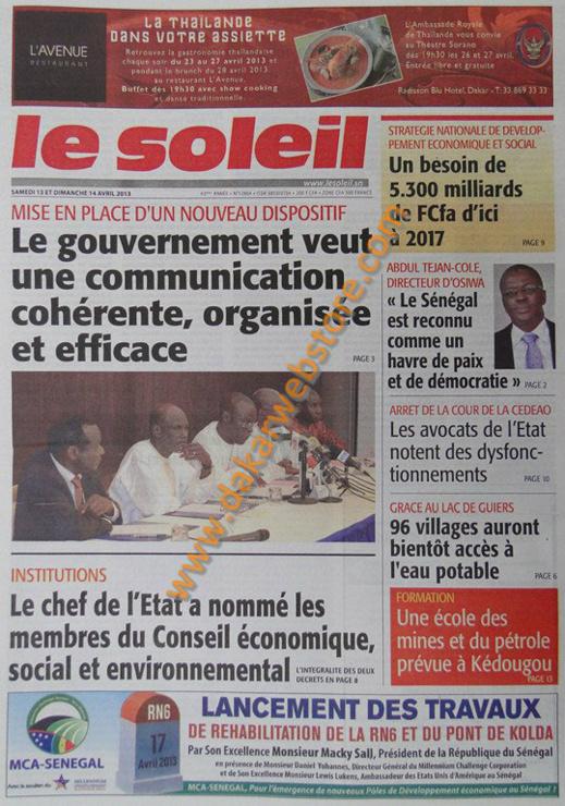 A la Une du Journal Le Soleil du samedi 13 Avril 2013