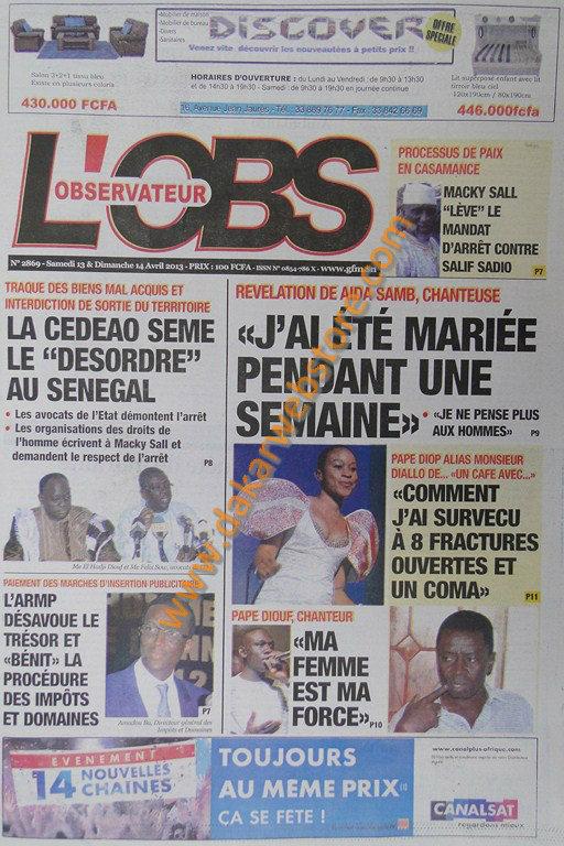 A la Une du Journal L'Observateur du samedi 13 Avril 2013