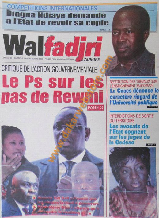 A la Une du Journal Walfadjri du samedi 13 Avril 2013