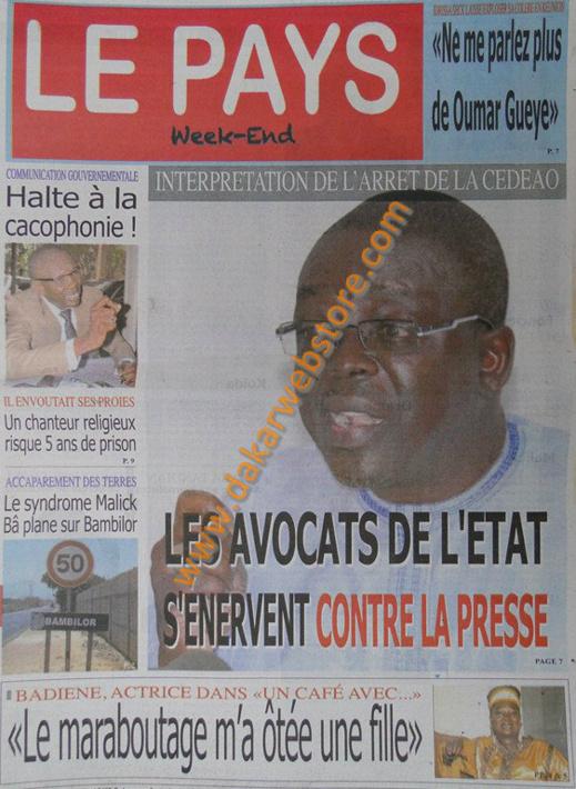 A la Une du Journal Le Pays du samedi 13 Avril 2013
