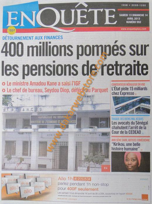 A la Une du Journal EnQuête du samedi 13 Avril 2013