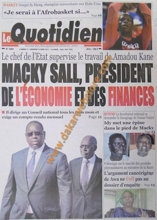 A la Une du Journal Le Quotidien du samedi 13 Avril 2013