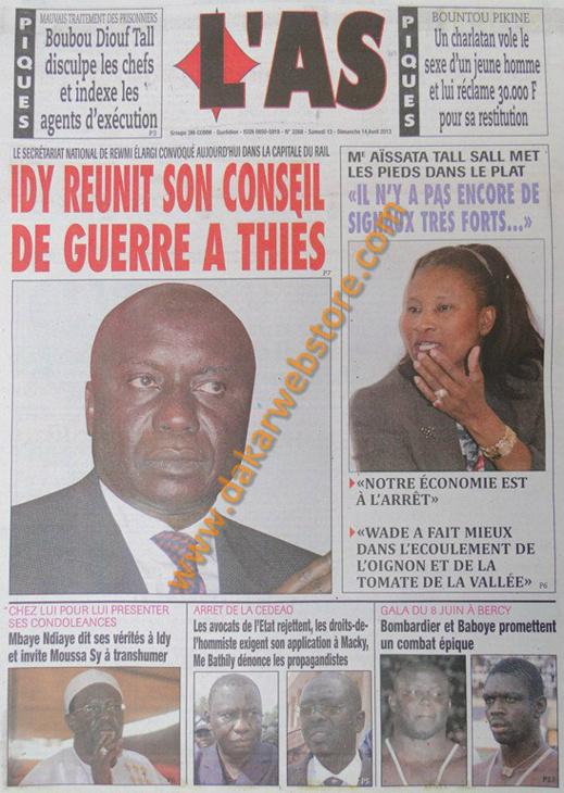 A la Une du Journal L'As du samedi 13 Avril 2013