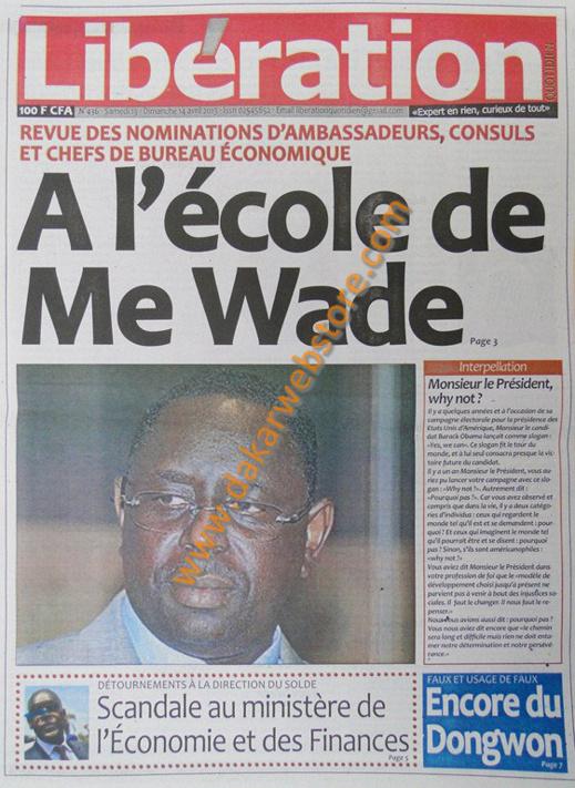 A la Une du Journal Libération du samedi 13 Avril 2013