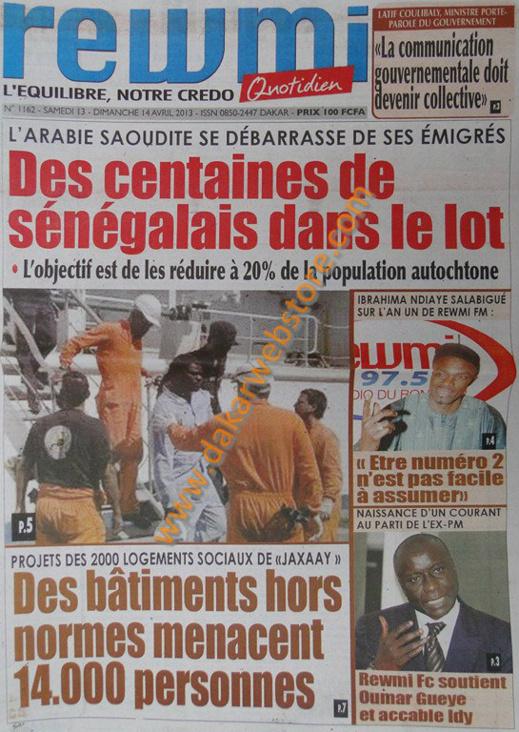 A la Une du Journal La Rewmi du samedi 13 Avril 2013