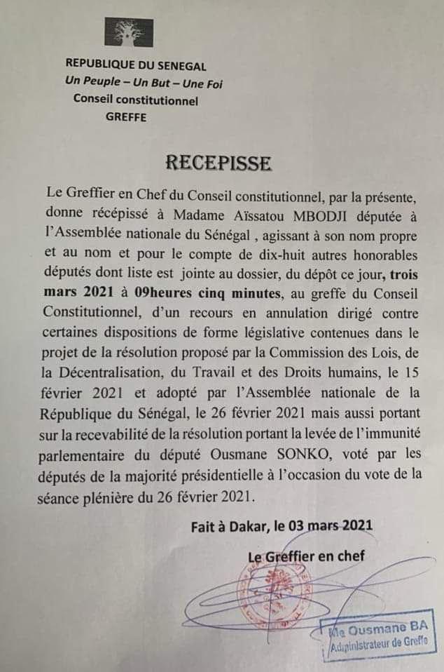 Levée de l'immunité parlementaire de Ousmane Sonko: La Cour constitutionnelle reçoit un recours des députés