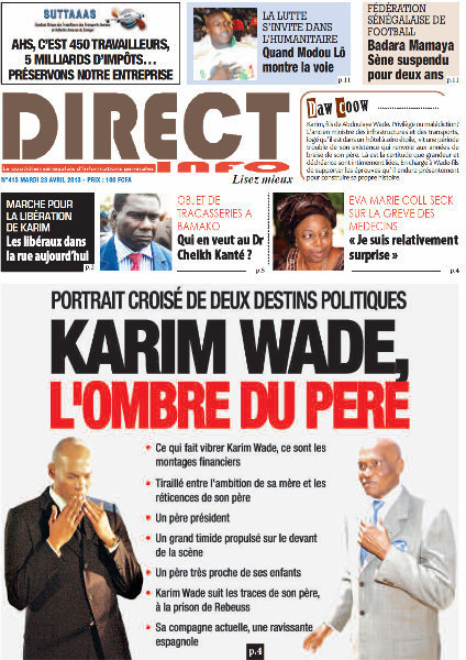 A la Une du Journal Direct Info du mardi 23 Avril 2013