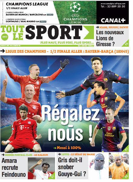 A la Une du Journal Tout Le Sport du mardi 23 Avril 2013