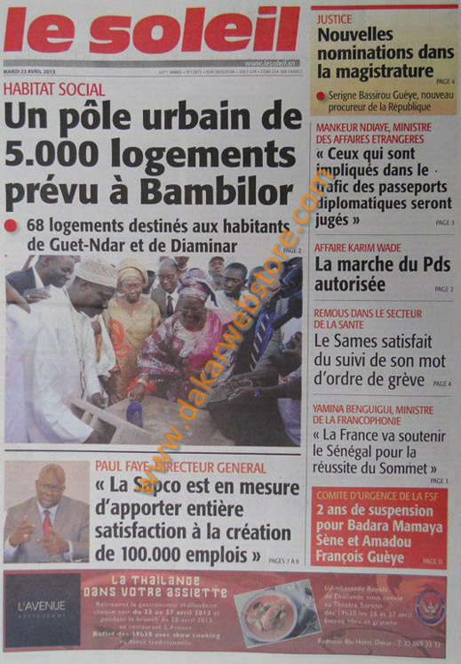 A la Une du Journal Le Soleil du mardi 23 Avril 2013