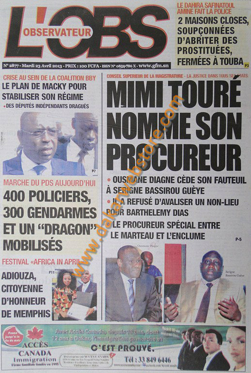 A la Une du Journal L'Observateur du mardi 23 Avril 2013