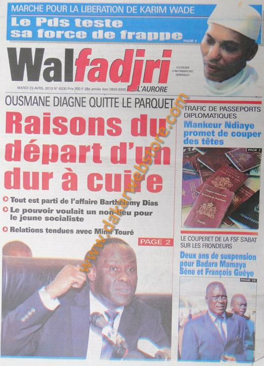 A la Une du Journal Walfadjri du mardi 23 Avril 2013