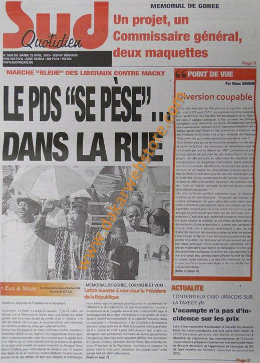 A la Une du Journal Sud Quotidien du mardi 23 Avril 2013