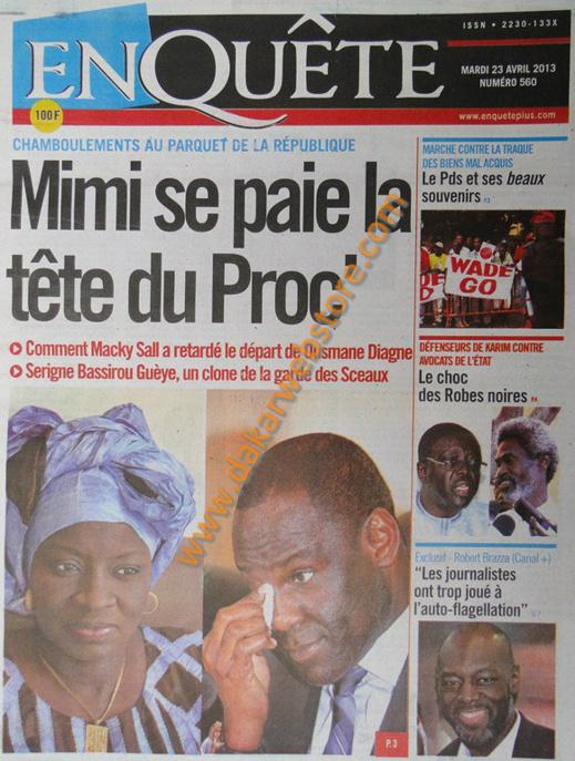 A la Une du Journal EnQuête du mardi 23 Avril 2013