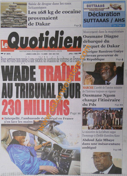 A la Une du Journal Le Quotidien du mardi 23 Avril 2013
