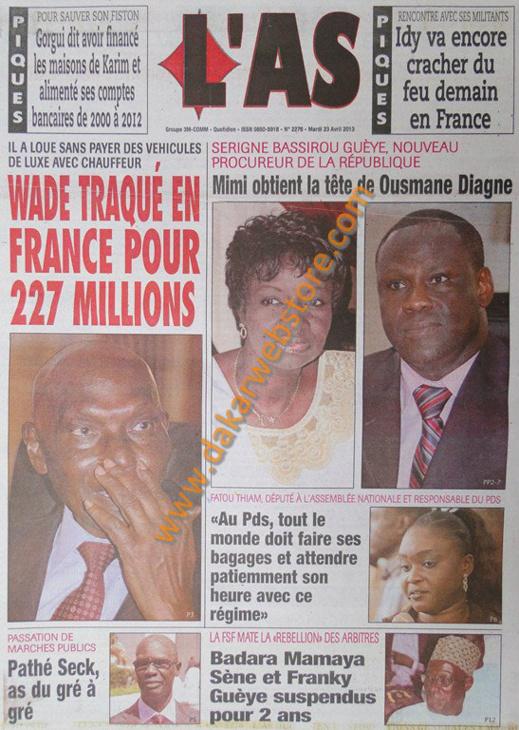 A la Une du Journal L'As du mardi 23 Avril 2013