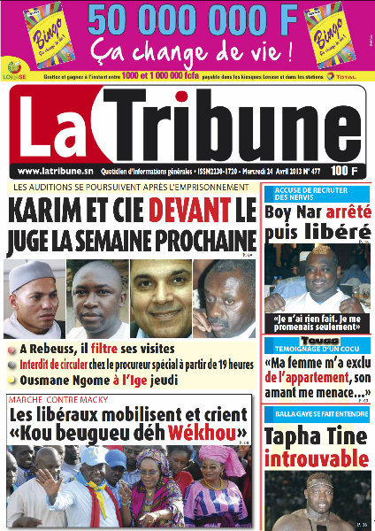 A la Une du Journal La Tribune du mercredi 24 Avril 2013