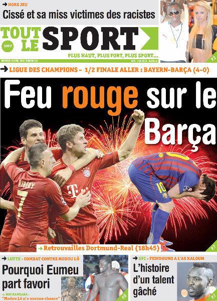 A la Une du Journal Tout Le Sport du mercredi 24 Avril 2013