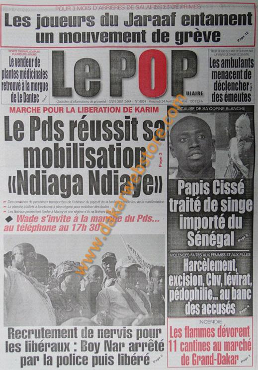 A la Une du Journal Le Populaire du mercredi 24 Avril 2013