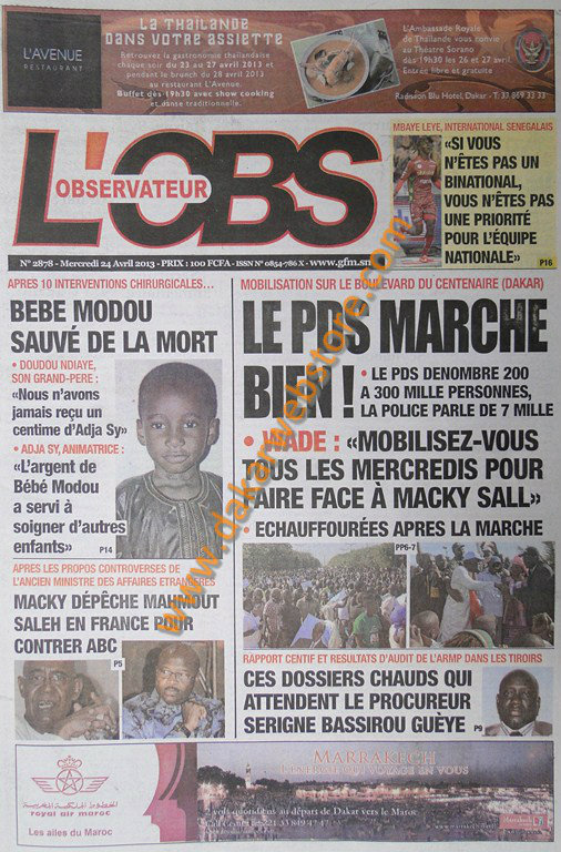 A la Une du Journal L'Observateur du mercredi 24 Avril 2013