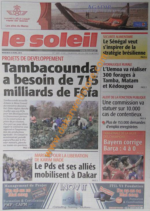A la Une du Journal Le Soleil du mercredi 24 Avril 2013