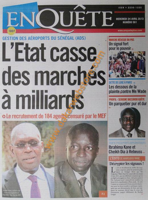 A la Une du Journal EnQuête du mercredi 24 Avril 2013