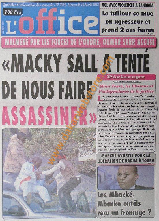 A la Une du Journal L'Office du mercredi 24 Avril 2013
