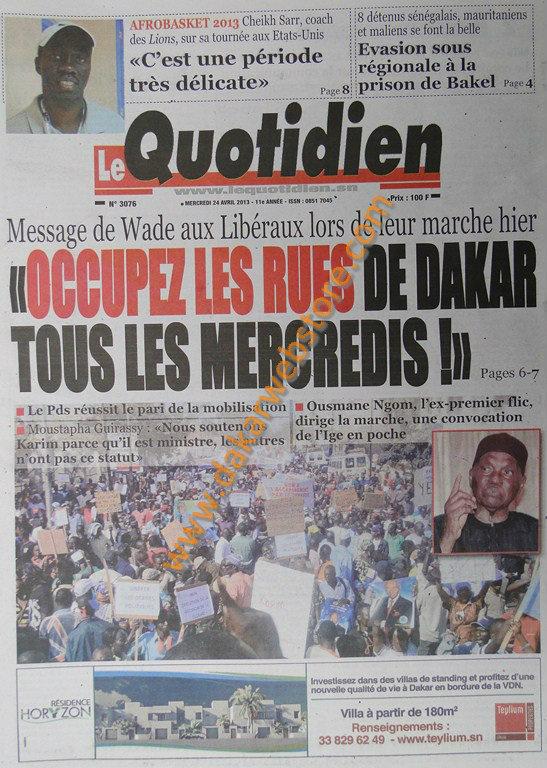 A la Une du Journal Le Quotidien du mercredi 24 Avril 2013