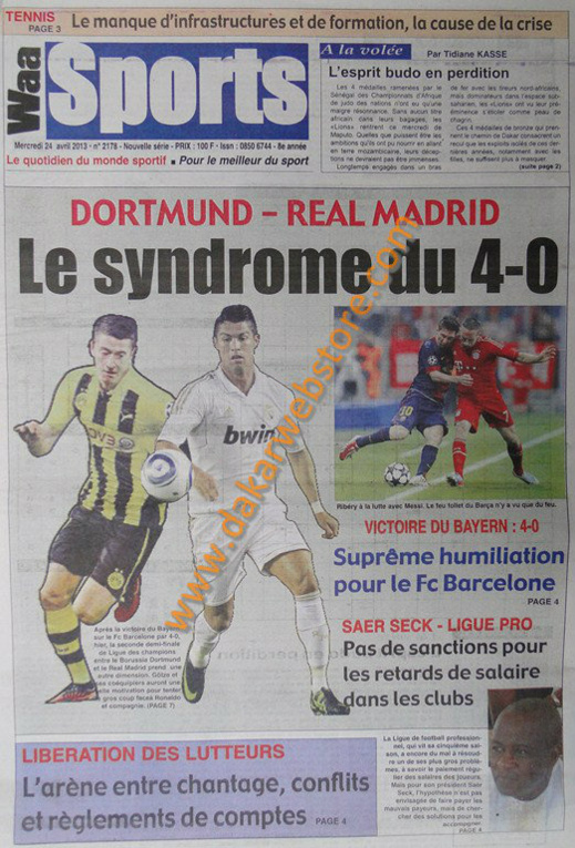 A la Une du Journal Waa Sports du mercredi 24 Avril 2013