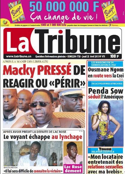 A la Une du Journal La Tribune du jeudi 25 Avril 2013