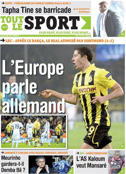 A la Une du Journal Tout Le Sport du jeudi 25 Avril 2013