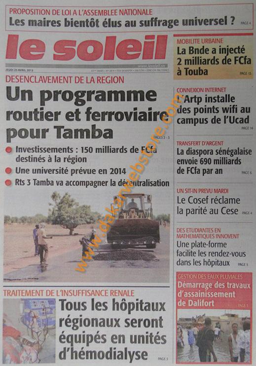 A la Une du Journal Le Soleil du jeudi 25 Avril 2013