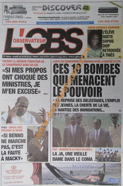 A la Une du Journal L'Observateur du jeudi 25 Avril 2013