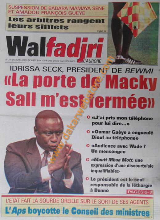 A la Une du Journal Walfadjri du jeudi 25 Avril 2013