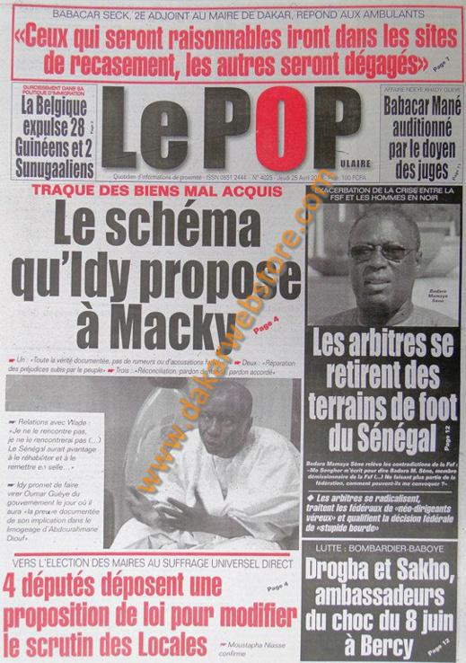 A la Une du Journal Le Populaire du jeudi 25 Avril 2013