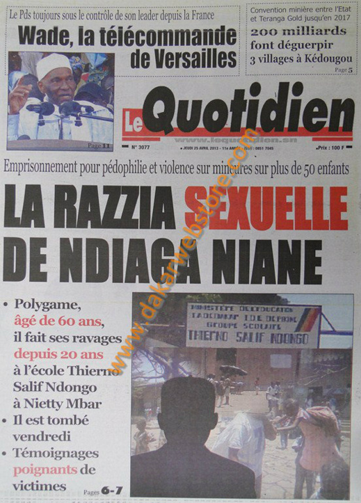 A la Une du Journal Le Quotidien du jeudi 25 Avril 2013