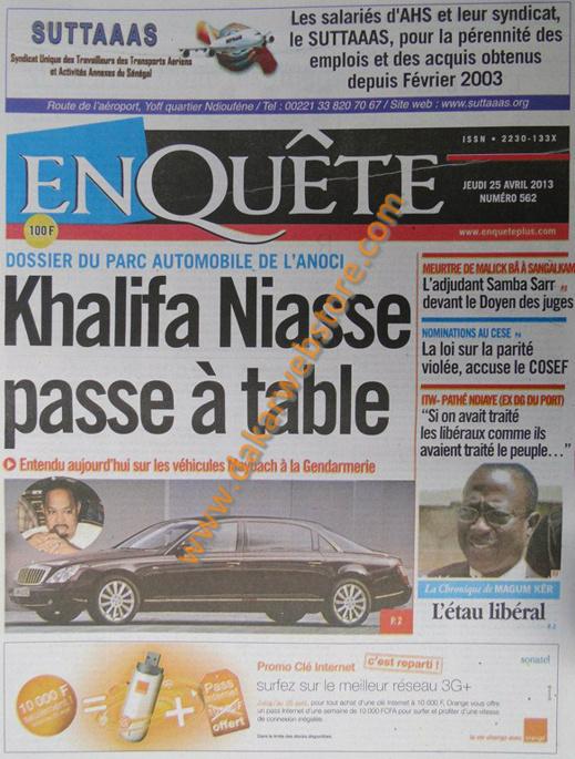 A la Une du Journal EnQuête du jeudi 25 Avril 2013