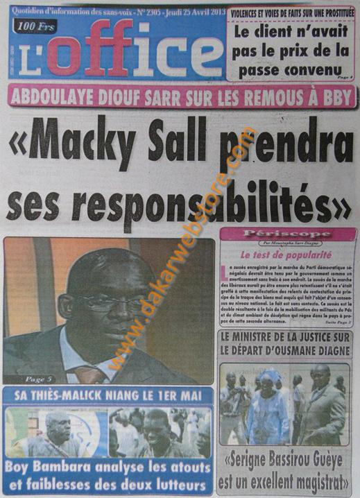 A la Une du Journal L'Office du jeudi 25 Avril 2013