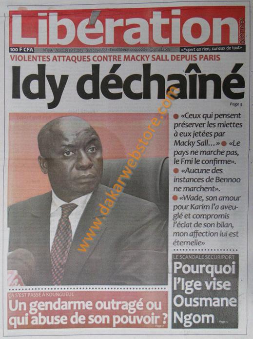 A la Une du Journal Libération du jeudi 25 Avril 2013