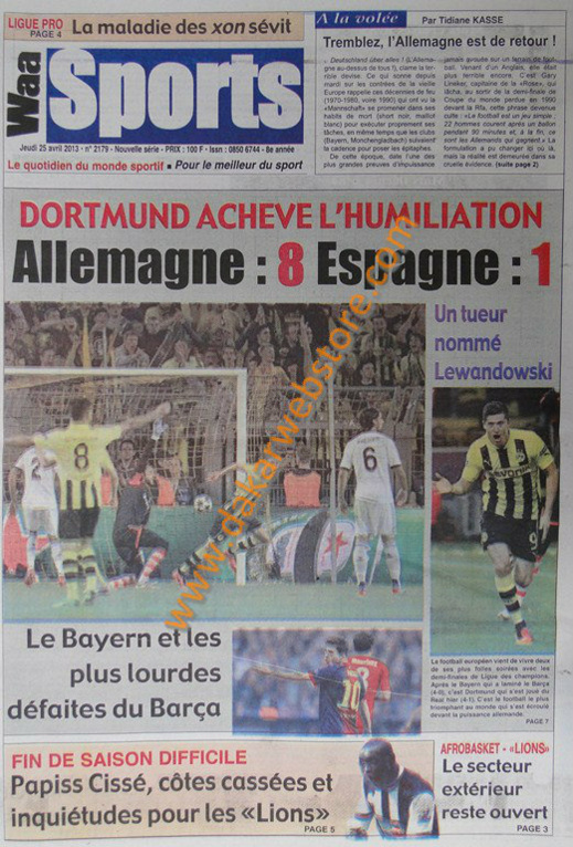 A la Une du Journal Waa Sports du jeudi 25 Avril 2013